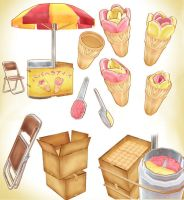 FLOWER ICECREAM STALL DOWNLOAD PACK MMD by Hack-Girl