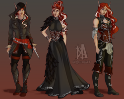 Commission:   Ryssa Ravensdawn Line Up by MischiArt