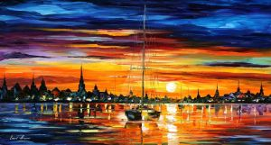 Calm Sunset 3 by Leonid Afremov by Leonidafremov