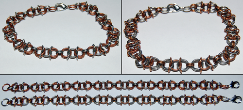 Copper and Stainless Steel Chainmaille Bracelets by xShojirox