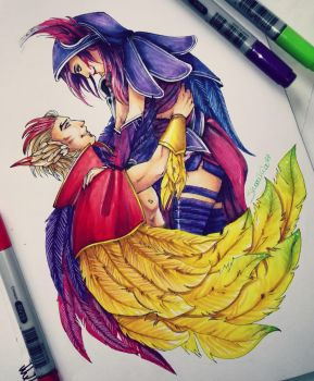 League of Legends - Rakan and Xayah by ShariKia