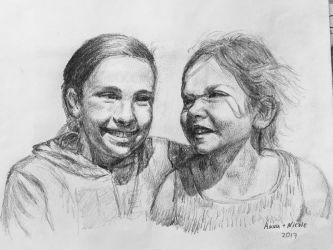 My daughters :) Graphite pencil drawing. by akarudsan