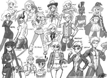MLP Character Human Sketches by johnjoseco