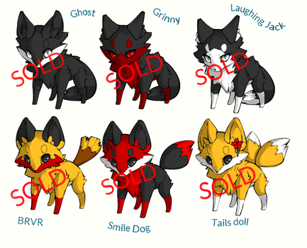 Creepypasta Foxes adoptables 2(Closed) by NicoleDrowned