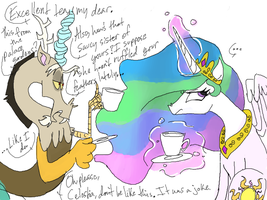 Celestia and Discord have tea by Chuck-Norrisss