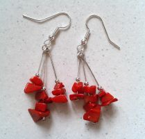 red coral and silver earrings by syn-O-nyms