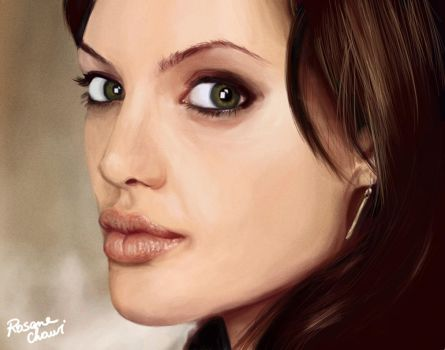 Angelina Jolie digital paintin by Rosane-Chawi