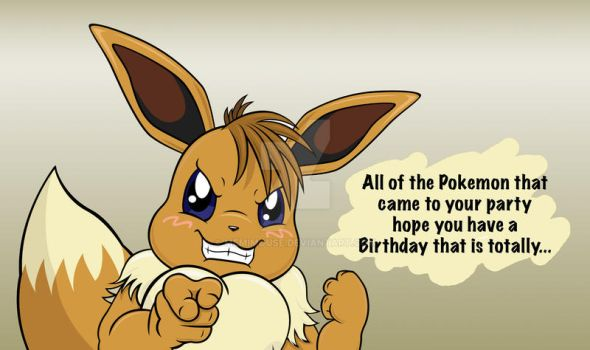 Eevee Birthday Card Front by MeMiMouse