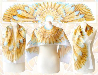 Golden Wings silk scarf - for sale! by MinkuLul