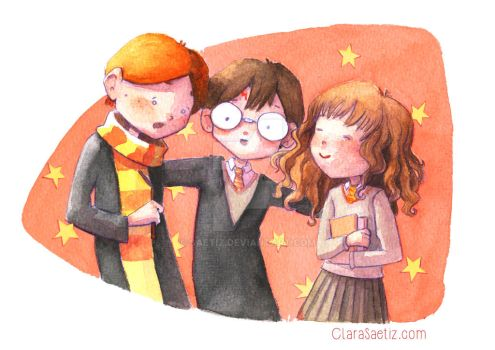 Harry, Ron and Hermione by saetiz