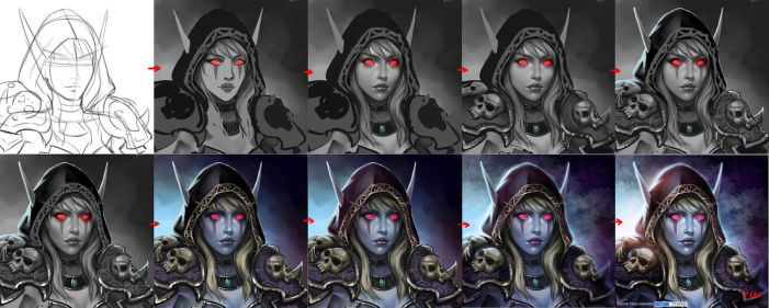 Step by step of Lady Sylvanas Windrunner by yagihikaru