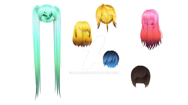 MMD Vocaloid Hair Pack + DL by Lumanaera