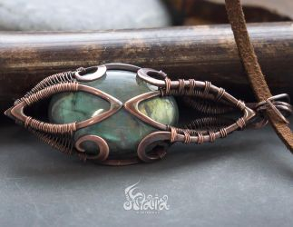 Copper wire wrapped pendant by Artarina