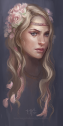 Girl with roses sketch by pearl-of-light