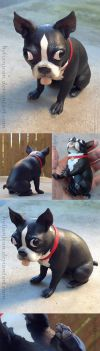 Sparky the Boston Terrier Sculpture by HylianJean