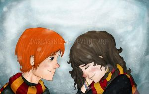 Ron and Hermione - Snow by Darlasaki2