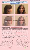 Tips about face proportions by HolyElfGirl