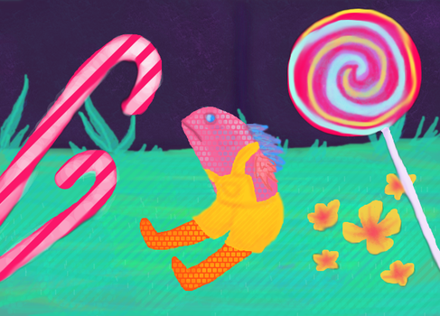 tiny candy fish monster by SeehaTheCat