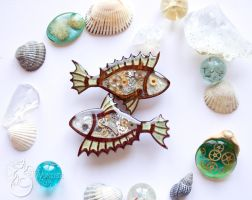 Steampunk brooches by Wonder-fox