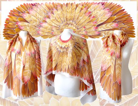 Aztec Wings silk scarf by MinkuLul