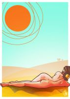 Tanning in the desert by SchroedingerTales