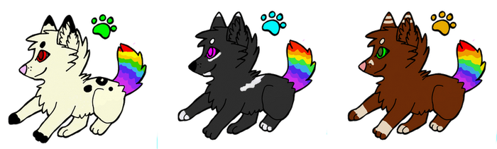 rainbow dogs adoptables by DarkGhost97