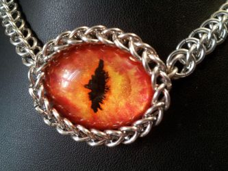 Fire Eye In Chainmaille by BacktoEarthCreations