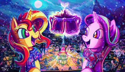 Sunny and Starry is in the Winter Night by Jowybean