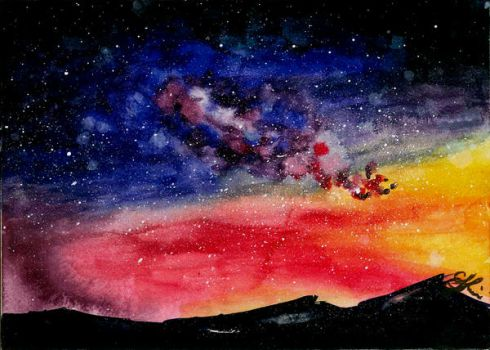 Watercolor Night Sky Practice by EveSinclair