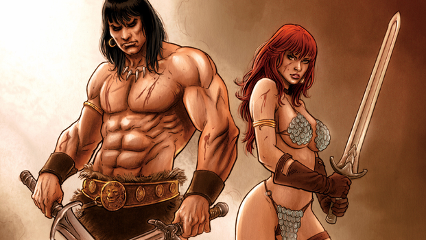 Red Sonja and Conan Wallpaper by Vampirewiccan
