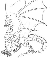 Gold Plate Dragon - Lineart by KTechnicolour