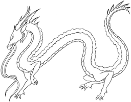 Silver Dragon Lineart by WargmoDesign