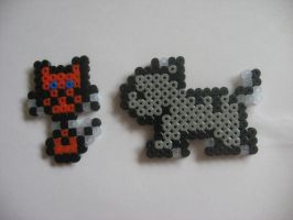 Hama bead compu kittys by Twilightberry