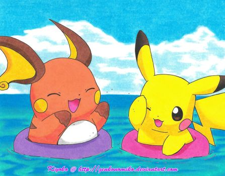 Pikachu x Raichu: At The Beach by GenkoNoMiko