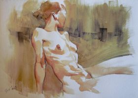 Nude watercolor by feerikart