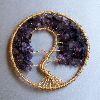 Golden Amethyst Tree of Life pendant II by craftymama