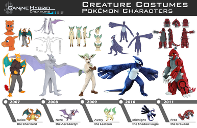Timeline of Pokemon Costumes by CanineHybrid