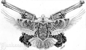 White Dove Tattoo with Guns n Roses by Yankeestyle94
