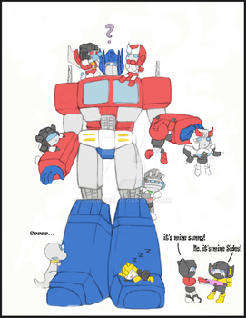 Optimus and chibis by GoreChick