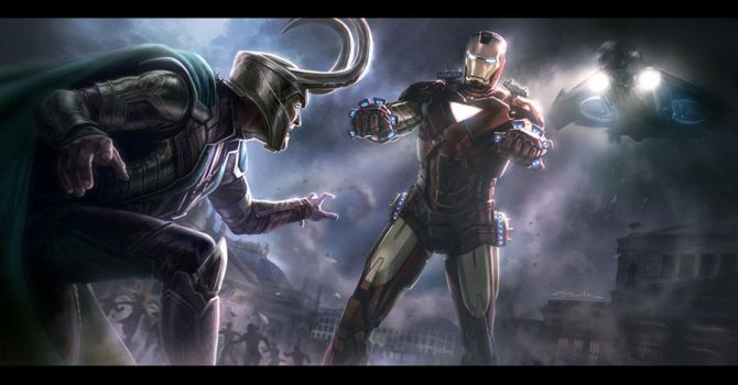 The Avengers- Iron Man vs. Loki (smaller) by andyparkart