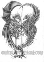 Dragon and Phoenix Tattoo by Milui