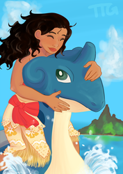 Moana and Lapras by TheTailGunner