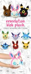Eevee Evolution Blob Plush Sewing Pattern by SewDesuNe