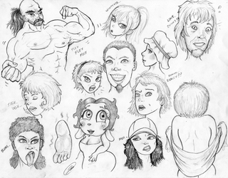 Face Sketches 180804 by TheMightyGorga