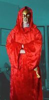 red velour robe with hood by emortalcoil