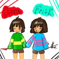 Chara and Frisk by RuddyFeeD