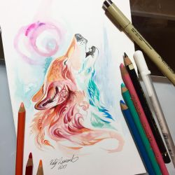 Howling Pastel Wolf by Lucky978