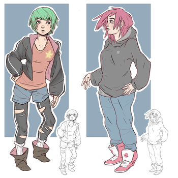 Green and Pink by TheGrimMeanie