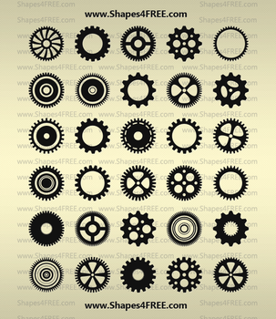 90 Gears PS Shapes by Shapes4FREE