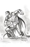 SUPERMAN watercolor-ish greyscale by RayDillon